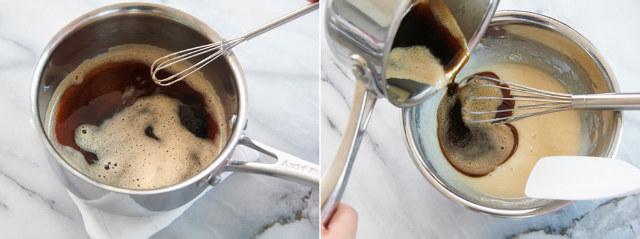 [Point2]卵液と焦がしバターをあわせるときの温度に注意!