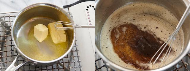 [point1]バターは「焦がしバターに」! 混ぜながら火にかける