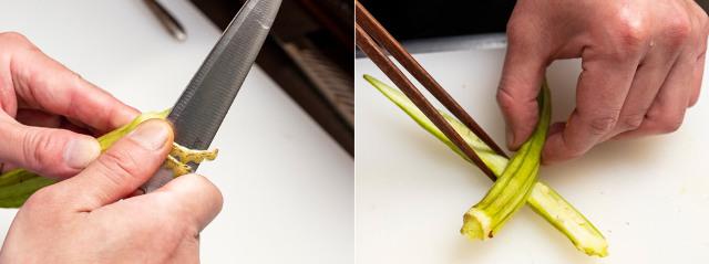 <食べる直前に、野菜の準備>
